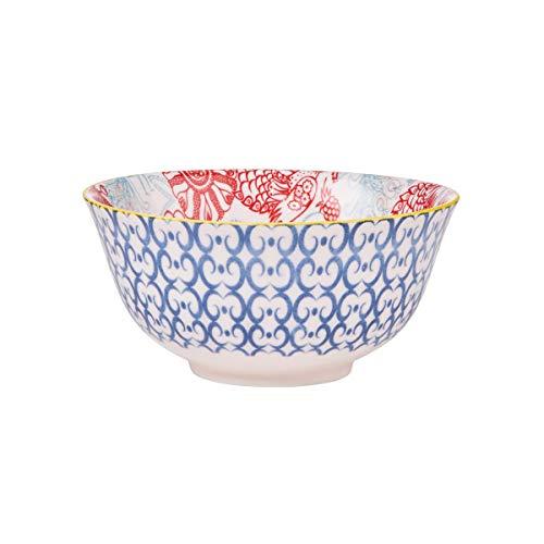 BUTLERS Ornaments Schale mit Muster in Blau-Rot 520 ml - Müslischale, Salatschale, Dessertschale, Suppenschale