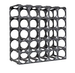 Stakrax - Stackable, Modular Wine Rack - 30 Bottle Set - Silver
