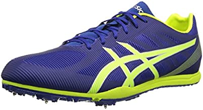 ASICS Men's Heat Chaser Track And Field Shoe,Deep Blue/Flash Yellow,12 M US