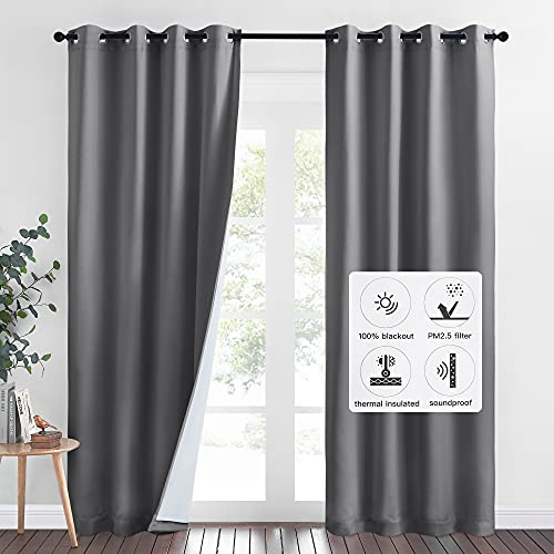 NICETOWN 4-in-1 PM2.5 Particles Noise Blackout Thermal Insulation Curtains, Heavy-Duty Full Light Shading Drapes with Detachable Liner for Villa/Hall/Dorm(Gray, 2 Panels, 52-inch Wide x 95-inch Long