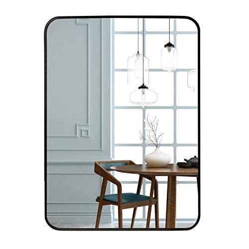 Egleson Groß Wandspiegel 50x70cm mit Schwarz Metallrahmen Spiegel für Wohn-, Bad-, Kinder- oder Schlafzimmer