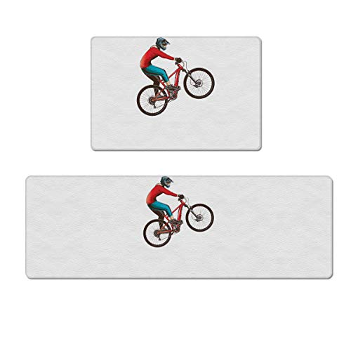 Prime Leader 2 Piece Non-Slip Kitchen Mat Rug Rubber Backing Doormat Set Mountain Bike Kitchen Rugs Comfort Standing Mat PVC Leather Floor Mat 18'x30'+18'x59'