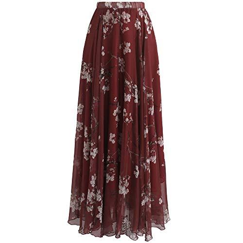Chicwish Women's Plum Blossom Watercolor Wine Red Flower Maxi Floral Chiffon Slip Skirt