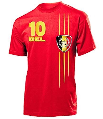 Belgien Belgium Belgique Fan t Shirt Artikel 3314 Fuss Ball EM 2020 WM 2022 Team Trikot Look Flagge Fahne Jersey Football Männer Herren Jungen L