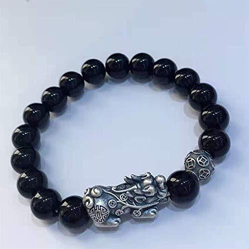 RTUTUR Feng Shui Riqueza Brazalete obsidiana obsidiana pixiu pi yao Pulsera para Mujeres 999 Plata esterlina pixiu Pulsera Afortunado encantos atraen Buena Suerte Amuleto