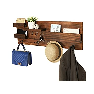 Wall Mounted Natural Wood Entryway Coat Rack with 3 Key Hooks, Mail Holder & Storage Shelves, Brown