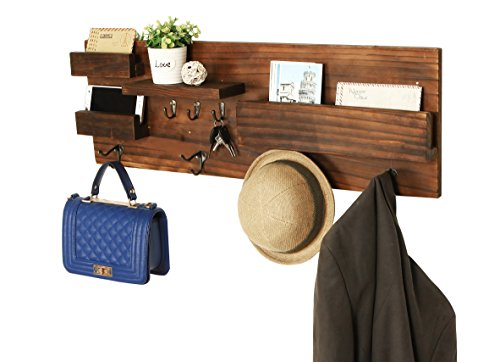 MyGift Wall Mounted Dark Wood Entryway Coat Racks, Key Hooks...