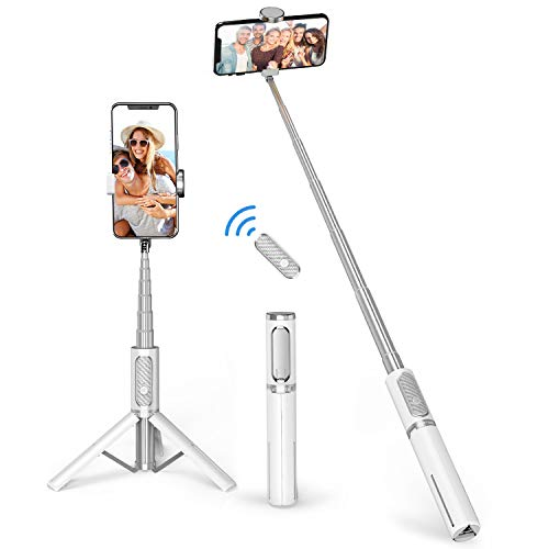 ATUMTEK Bluetooth Selfie Stick Tripod, Extendable 3 in 1 Aluminum Selfie Stick with Wireless Remote and Tripod Stand 270 Rotation for iPhone 12/11 Pro/XS Max/XS/XR/X/8/7, Samsung and Smartphone White