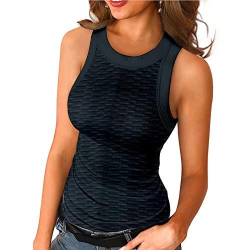 Sexy Slim largo acanalado sin mangas para mujer camiseta de punto sólido O-cuello chaleco Tops túnica camisetas