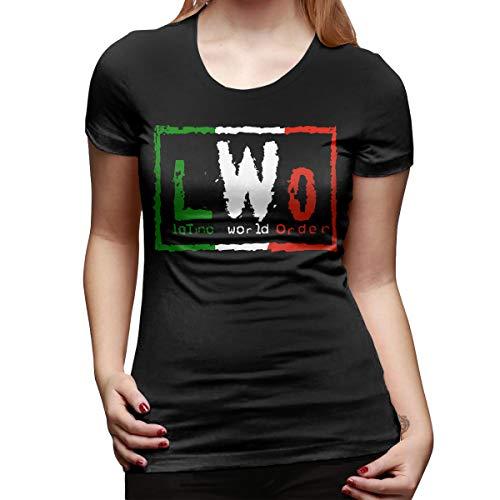 Latino World-Order NWO Mexican Wrestling Womens Short Sleeve T Shirt Tees Sport Summer(Small,Black)