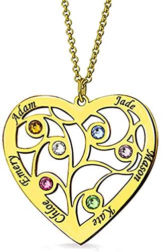 Collar kyznx Getname Árbol de la vida de plata de ley 925, grabado con 6 nombres de madre, abuela, amante y regalo Oro 18.0
