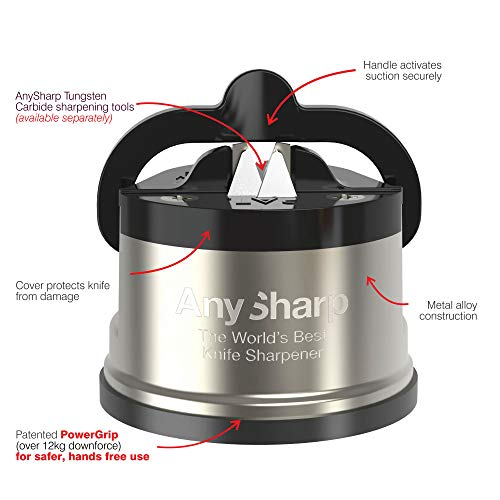 AnySharp Pro Metal World's Best Knife Sharpener with Suction, Brushed Metal