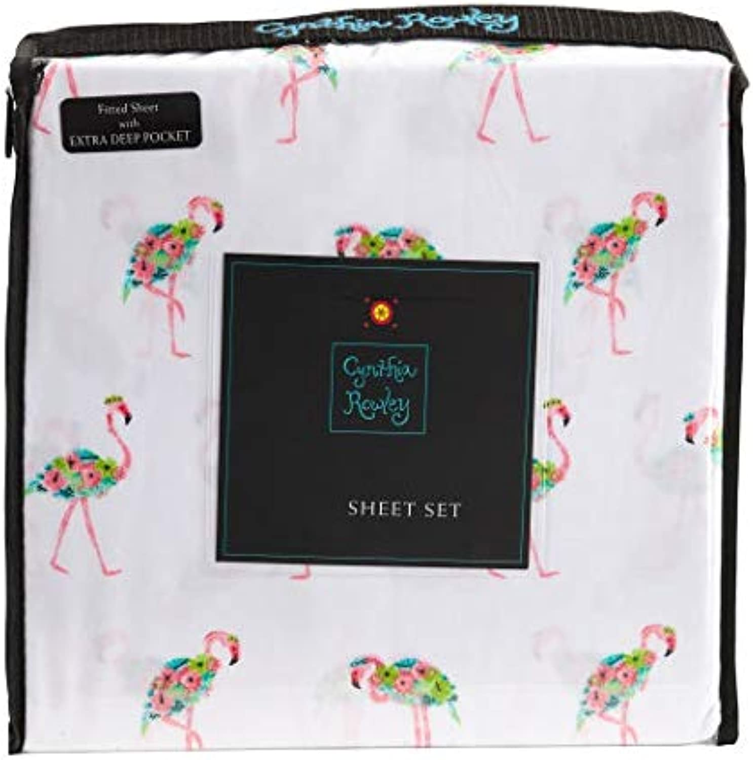 Cynthia Rowley Floral Flamingos on White Microfiber Sheet Set (Queen)