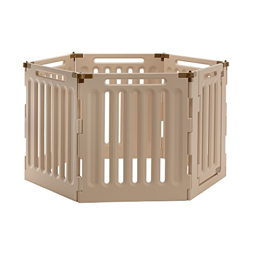 Richell Convertible Indoor/Outdoor Pet Playpen, Large, Soft Tan/Mocha