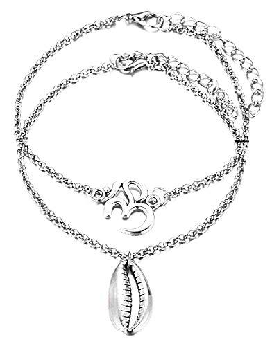 Twee enkelbanden - schelp - om symbool - zomer - vrouw - meisje - zee - mode - kerstmis - origineel cadeau-idee - sierraden - verjaardag - zilver - sieraden