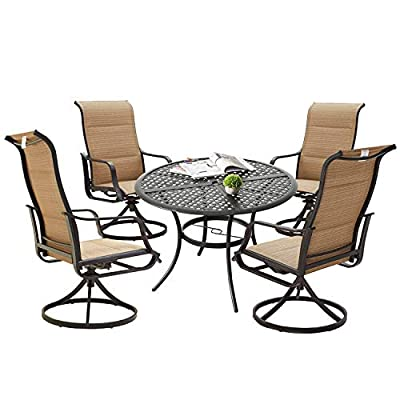 PatioFestival Patio Dining Set Outdoor Furniture Swivel Rocker Chairs Round Metal Table Sets with All Weather Frame (5Pcs, Beige)