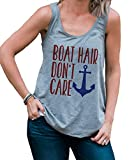 7 ate 9 Apparel Ladies Boat Hair Don't Care Summer Tank Top Large Grey