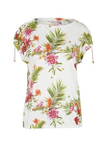 s.Oliver RED Label Damen O-Shape-Shirt mit Raffung Off-White floral p 38