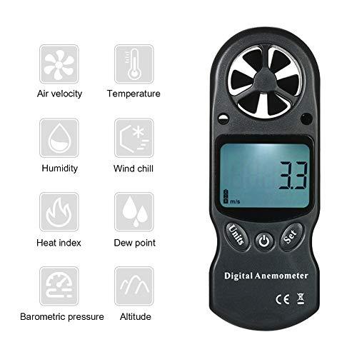 8 in 1 Digital-Anemometer, Thermometer Windgeschwindigkeit Messgerät Meter Temperatur- und Feuchtigkeitsmessgerät Messwerkzeug,Schwarz