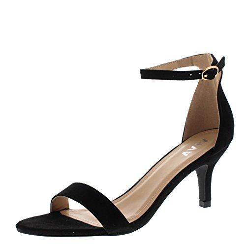 scarpe donna rosse con tacco Viva Donna Tacco Basso Gattino Cinturino Alla Caviglia Scamosciato Ufficio Lavoro Sera Sandalo Scarpe - Nero KL0338D 7UK/40