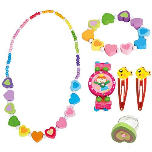 Bino 6 TLG. Set Holzschmuck Mädchenschmuck Kinderschmuck Motiv Regenbogen Herz - Halskette Armband Regenbogen Herz Armbanduhr Ring 2 Haarspangen