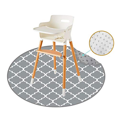 "REIGNDROP 54"" Large Splat Mat for High Chair, Play Mat, Picnic, Art Crafts for Baby, Kids, Non Slip, Waterproof, Washable, Portable, Durable, Reusable Splash, Spill Mat Pet Litter (Round Lattice)"