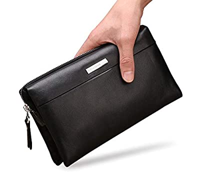 BISON DENIM Mens Clutch Wallet Genuine Leather Clutch Handbag Credit Card Organizer Long Wallet Checkbook Wallet