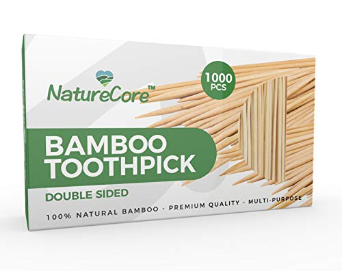 NEW NatureCore Bamboo Toothpicks Wooden  1000 CT Sturdy Safe Paper Box 1 Box of 1000 PCS Party Catering Appetizer Fruit Cocktail Dessert Barbecue Art Craft Teeth Cleaning