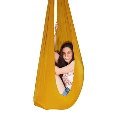 QHY Swing de Terapia Hamaca para Niños Colgante Pod Swing Seat Hamaca Interior Y Al Aire Libre para Niños A Adultos (Color : Gold, Size : 1m×2.8m)
