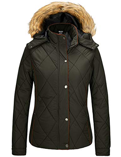 Wantdo Womens Winter Casual Overcoat Hooded thicken Puffer Jackets Army Green L