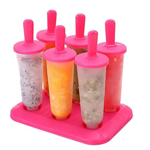 Baifeng 6 Stück/1 Set runde Eiswürfelform mit Deckel Eiswürfelform DIY Eiscreme Eis Eis Eis Eis Eis Eis Eis Eis Eis Formen Formen Formen Maker Large rosarot