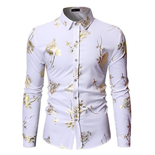 Camicie Maniche Lunghe Moda Manica Lunga Pittura Large Size Casual Top Camicie Camicie da Uomo (L,Bianca)