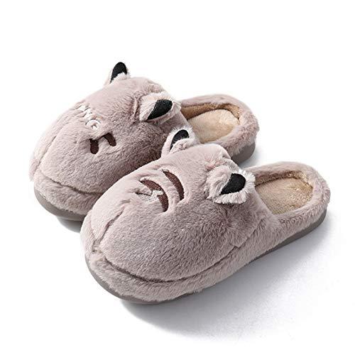 DHDHWL Slippers Paar Slippers Winter Pluche Warm Unisex Vrouwen Schoenen Cartoon Leuke Dames Slippers Indoor Platte Schoenen Thuis (Kleur: Donker Khaki, Schoenmaat: 7.5)
