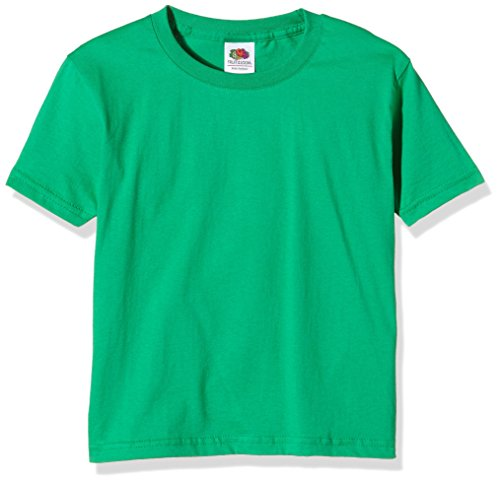 Fruit of the Loom Unisex Kinder Sofspun T-Shirt, Kelly Green, 3-4 Jahre