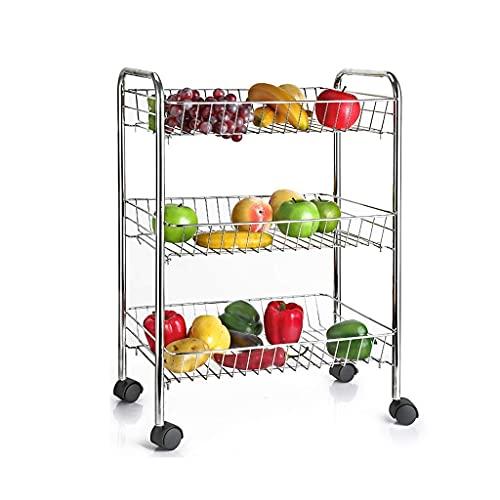 Estante de almacenamiento acero inoxidable cocina estantería plato estante vegetal y fruta cesta piso multicapa almacenamiento de la casa rack fruta y cesta de almacenamiento de verduras, grande, gran