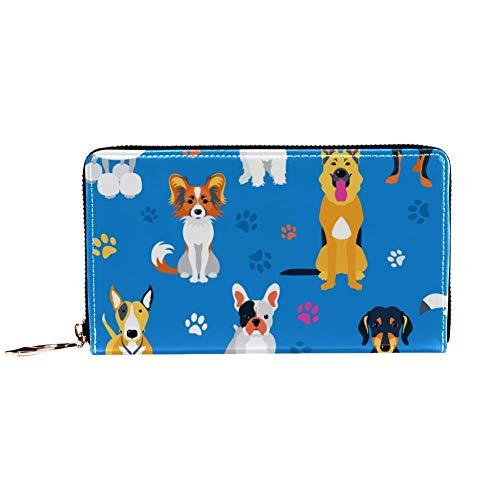 XCNGG Damen Reißverschluss um Brieftasche und Telefonkupplung, Reisetasche Leder Clutch Bag Kartenhalter Organizer Wristlets Brieftaschen, Hunde Flat Design