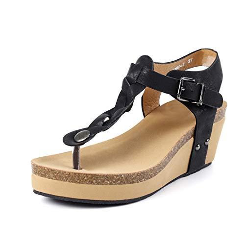 Sandalias Mujer Plataformas Cuña Verano Alpargatas Tacon 7cm Vestir Sandalias y Chanclas Romanas Flipflop Bohemias Zapatos Negro Beige Marrón 35-43 EU Negro 42