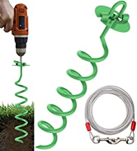 Eurmax 16inch Up to 500lbs Spiral Dog Tie Out Ground Spiral Anchor Stake Ideal for All Kinds of Pets. (Green)