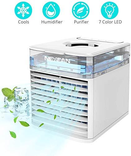 VOLUEX Mini Enfriador de Aire, Mini Acondicionador de Aire Móvil, 4 en 1 Purificador Humidificador Aromaterapia Luz Nocturna, 7 Colores Luces 3 Velocidades, Trabajo y Hogar