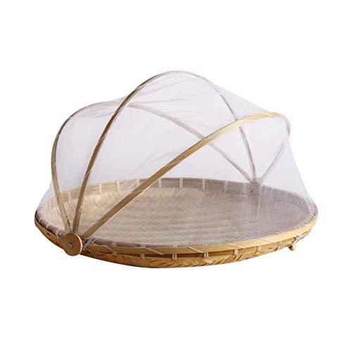 HUIJUAN Cesta de frutas y verduras hecha a mano de tejido de bambú con mosquitera, redonda, cesta de mimbre a prueba de polvo, almacenamiento de alimentos