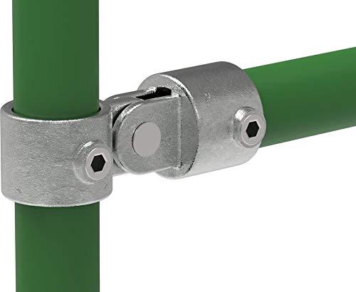 Fenau   Gelenk-Stück/Gelenk-Auge inkl. Gegen-Stück, Ø 26,9 mm, Angel-Rohr-Verbinder, Temperguss galvanisiert, feuerverzinkt, inkl. Schrauben