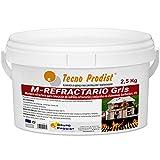 M-REFRACTARIO GRIS de Tecno Prodist - (2,5 Kg) - Mortero refractario especial para ladrillos refractarios y enlucidos en zonas que alcancen altas temperaturas como barbacoas, hornos o chimeneas.