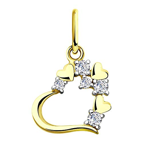 Colgante de corazón de oro amarillo de 14 quilates (585) con circonitas.