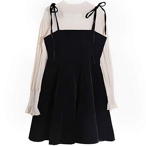 Liandan Lolita Vestido Streetwear Shirt Spring 2020 New Primavera Age-Reduce el Adelgazamiento Dweet Piece Western Style Hipster Student Dungaree Dress Traje Mujer Lolita Vestido Traje de Cosplay