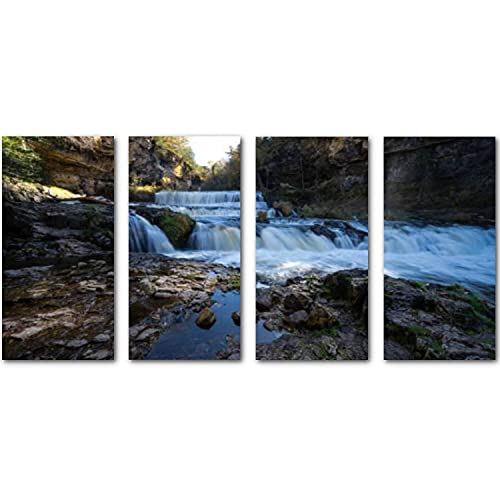 Painting On Canvas Artwork Photos Waterfall at Willow River State Park in Hudson Wisconsin in fall Stretched and Framed Pictures Posters Pints Wall Art for Living Room Bedroom Office Décor Gift