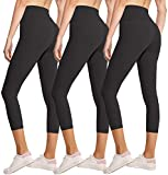 3 Pack Capri Leggings for Women Butt Lift-High Waisted Tummy Control Black Workout Yoga Pants (1-3 Pack Capri Black,Black,Black,Large-X-Large)