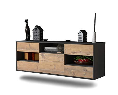 Dekati Lowboard St. Louis hängend (136x47x35cm) Korpus anthrazit matt | Front Holz-Design Pinie | Push-to-Open | hochwertige Leichtlaufschienen
