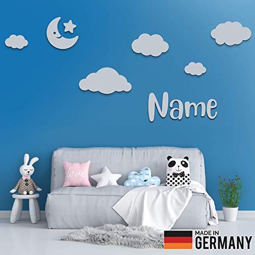 5er Set Wolken Holz mit Mond, Stern und Individueller Text/Name | 3D Effekt | Kinderzimmer Deko | Kinderzimmer Wanddeko selbstaufklebend (L, Grau)