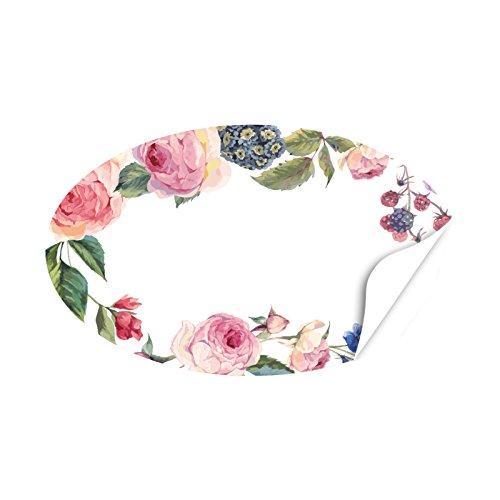 20 x ovale Aufkleber Vintage Rosen am Rand - Format ca. 8 x 5 cm - Etiketten, Sticker und Aufkleber für jeden Anlass