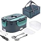 Boîte Chauffante Lunch Box 1.5L, Boîte Alimentaires Chauffante Électrique 45W, Boîte Repas portable 3 en 1 pour voiture/maison-étanche, avec fourchette cuillère et sac, Acier Inoxydable